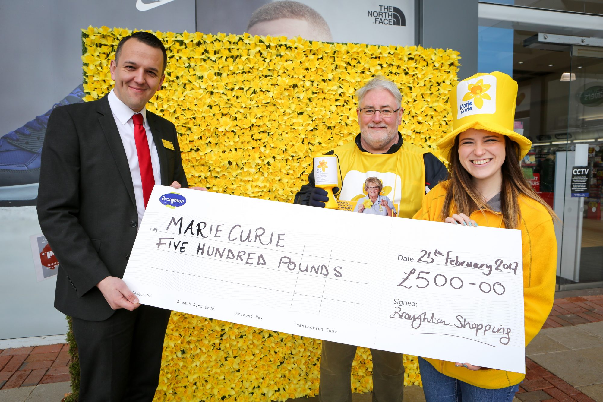 PR Photography; Cheque presentation to Marie Curie from Broughton Park Shopping Centre .